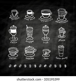 Types of coffee, chalk on black board. Icon and logotype design for coffee shop.  Cappuccino, mocha, espresso, cafe, americano, irish, frappe, chocolate, tea, take away, glace. Drink menu.