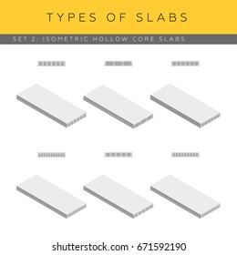 Types of concrete hollow core slabs. Set of vector isometric icons