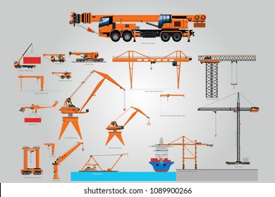Types of the crane. Loading machines. the largest set of lifting equipment. A large set of isolated different cranes. A set of cranes from different industries.