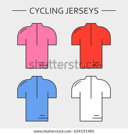 429d6fa3b Types of cycling jerseys. Four linear simple icons of main jerseys of cycling  championship. Pink