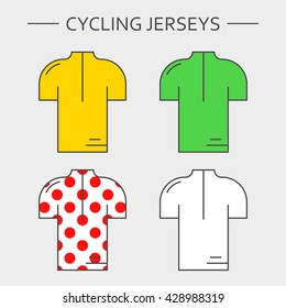 Types of cycling sportswear. Four linear simple icons of main jerseys of cycling championship. Yellow, green, white and red polka dot pullovers isolated on light grey background.