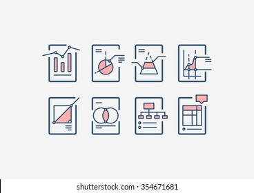 Types of different charts and graphs, Vector icons set for web design