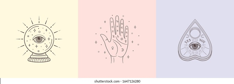 Types of Divination: palmistry, crystal ball, ouija planchette. Witch and magic symbols, monochrome vector illustration, isolated on white background