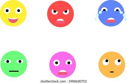 Types of emoji faces on white background