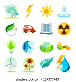 Types of energy. A set of icons on the theme of energy resources and minerals.