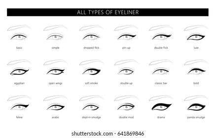 Types of eyeliner vector illustration stylish make up. Beauty article, magazine, book. Vector set.