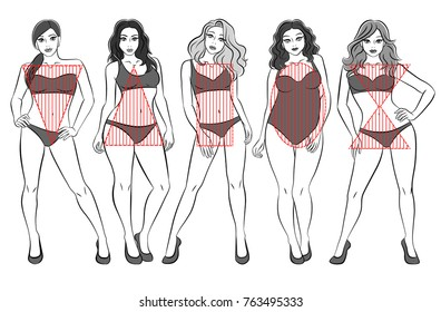 Types of female bodies. Five figures, black and white, the physique of girls. Forms: an inverted triangle, a pear, a rectangle, an apple, an hourglass.