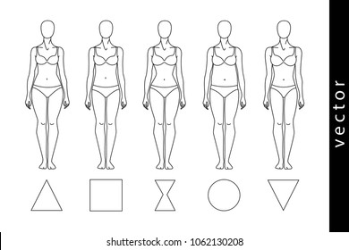 Types of the female figure: a triangle, a rectangle, an hourglass, a circle, an inverted triangle. A woman's body. Vector object