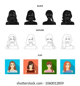 Types of female hairstyles black,flat,outline icons in set collection for design. Appearance of a woman vector symbol stock web illustration.