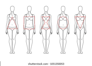 Types of figures: triangle, square, hourglass, circle, inverted triangle. 5 types of female figures. Vector objects on white background.