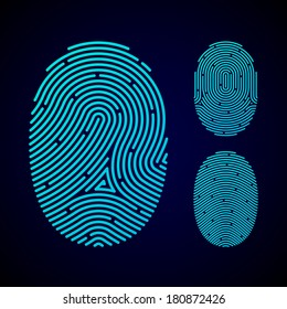 Types of fingerprint patterns - arch, loop and whorl. Vector.