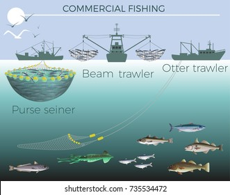 Types of fishing boats: purse seiner, beam trawler and otter trawler. Vector illustration