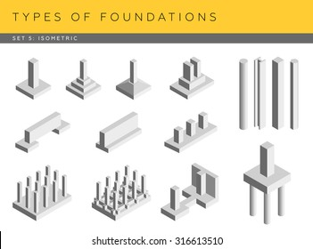 Types of foundations. Set of vector architectural blueprints. Isometric view