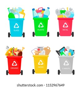 Types of garbage recycling ecological vector illustration. Metal, paper, organic, electronic, plastic, glass trash with cans. Infographic flat style.