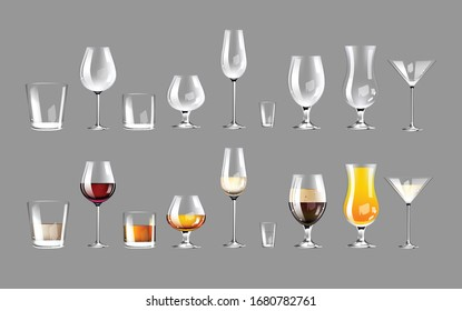 Types of glassware realistic product vector designs set. Empty drinkware 3d isolated mock up. Glasses with alcohol drinks templates pack on white background. Serving cocktails advertisement packing