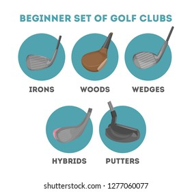 Types of golf club for beginner. Equipment for playing golf outdoor. Putter and wood clubs, iron and wedge. Isolated flat vector illustration