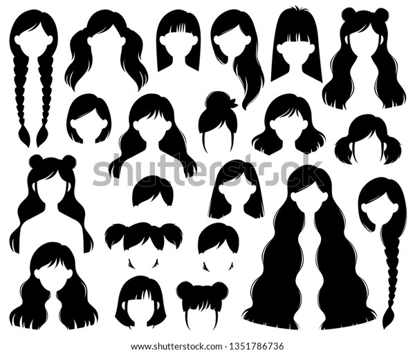 Types Hairstyles Beehive Bob Braided Bun Stock Vector (Royalty Free) 1351786736