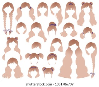 Types of Women's Hairstyles for Blonde: Beehive, Bob, Braided, Bun, Half Up Half Down, Highlights, Layers, Pixie, Ponytail, Bangs, Tousled, Upstyle Vector Set