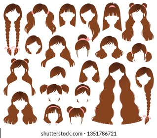 Types of Women's Hairstyles for Brunette: Beehive, Bob, Braided, Bun, Half Up Half Down, Highlights, Layers, Pixie, Ponytail, Bangs, Tousled, Upstyle Vector Set