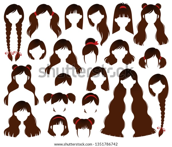 Types Hairstyles Brunette Beehive Bob Braided Stock Vector ...