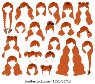 Types of Women's Hairstyles for Redhead: Beehive, Bob, Braided, Bun, Half Up Half Down, Highlights, Layers, Pixie, Ponytail, Bangs, Tousled, Upstyle Vector Set