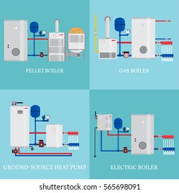 Types of heating systems. Set include gas boiler, pellet boiler, electric boiler and ground source heat pump in flat design. Vector illustrations.