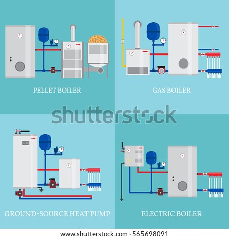 Types Heating Systems Set Include Gas Stock Vector (Royalty Free ...
