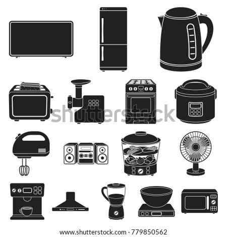 Types Household Appliances Black Icons Set Stock Vector (Royalty ...