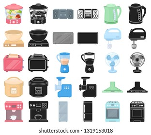 Types of household appliances cartoon,black icons in set collection for design.Kitchen equipment vector symbol stock web illustration.