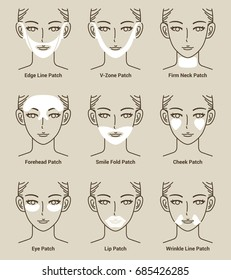 Types of Hydro Gel Patch Series. Anti Wrinkle Patch. Vector Illustration.