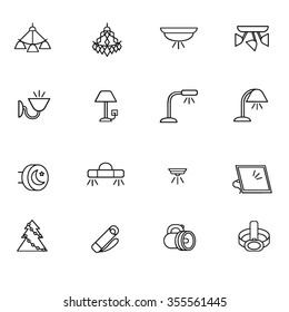 Chandelier icon images stock photos vectors shutterstock types of lighting for indoor use as line icons there are some types of lighting mozeypictures Choice Image