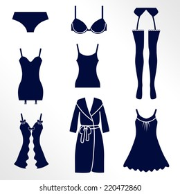 Types of lingerie / Solid fill vector icons