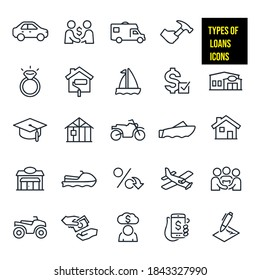 Types of Loans Icons stock illustration. a car, RV, home improvement, home repair, house, wedding ring, sail boat, motor boat, loan approval, financial institution, bank, education, new construction.
