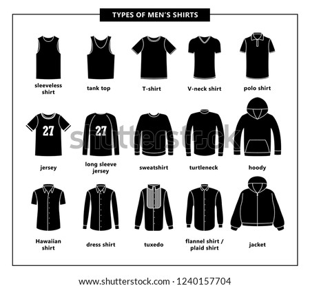 a4661a4cb22c Types of men s shirts with names. Vector icon illustrations. Set of men s  T-shirts  jacket