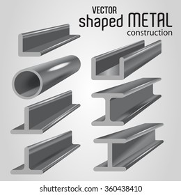 Types of metal products. Vector illustration