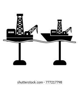 Types of offshore drilling; logo for oil and gas industry; black flat vector icon