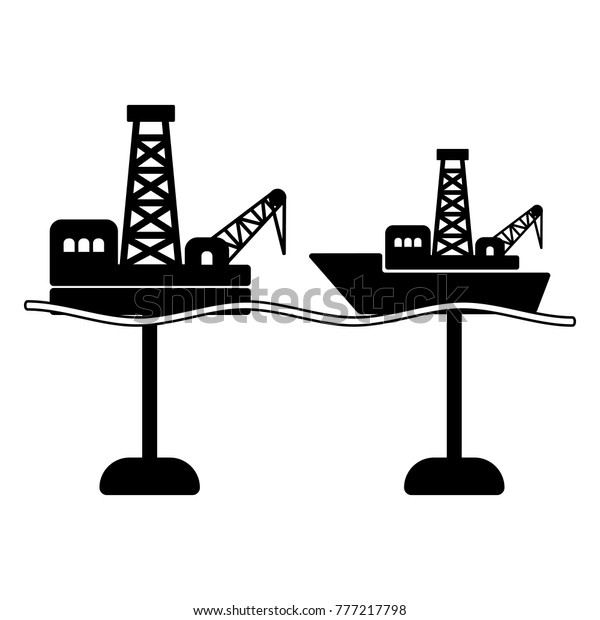 Types Offshore Drilling Logo Oil Gas Stock Vector (Royalty