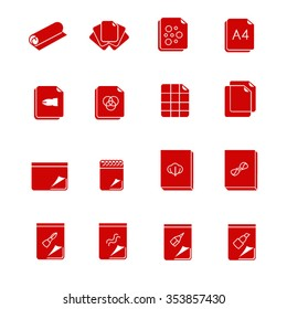 Types of paper and canvases for art as glyph icons / There are types of paper for art like sketch pads, sheets, tracing paper, cotton canvas etc.