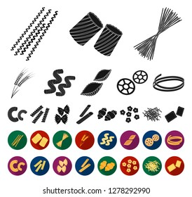 Types of pasta black,flat icons in set collection for design. Figured macaroni for eating vector symbol stock web illustration.