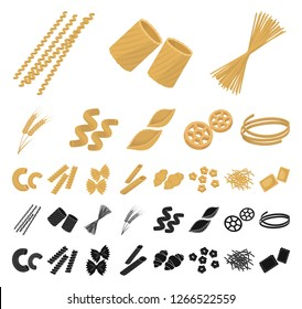Types of pasta cartoon, black icons in set collection for design. Figured macaroni for eating vector symbol stock web illustration.