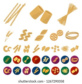 Types of pasta cartoon,flat icons in set collection for design. Figured macaroni for eating vector symbol stock web illustration.