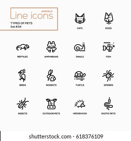 Types of pets - modern vector single line icons set. Reptile, cat, dog, amphibian, snail, fish, bird, rodent, turtle, spider, incects, cattle, hedgehog, exotic