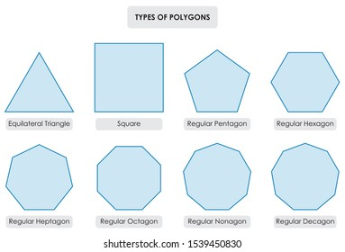Types Of Polygons Geometry Maths Art Mathematical Education Diagram Equilateral Triangle Square Regular Pentagon Hexagon Heptagon Octagon Regular Nonagon Decagon Vector