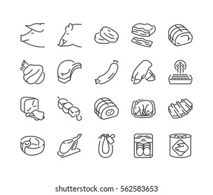 Types of pork and meat products thin line icons, black color, isolated