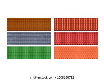 Types of roof tiles, roofs for attic of the house, different colors, textures and materials. Roof for modern residential buildings, private country houses, cottages, townhouses. Vector illustration.