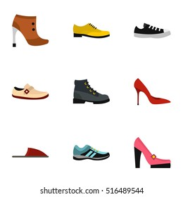 Types of shoes icons set. Flat illustration of 9 types of shoes vector icons for web