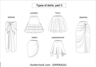Types of skirts on a white background.