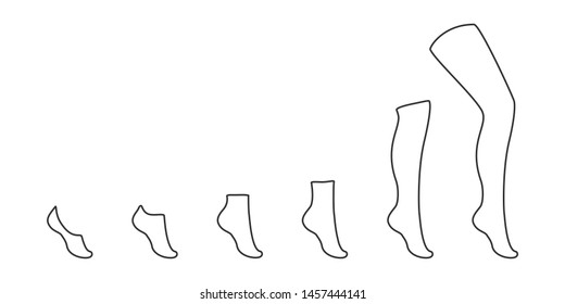 Types of socks collection. Invisible, extra low cut, low cut, quarter, mild calf, knee high, over knee and  thigh high socks.
