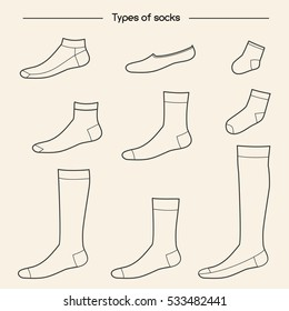 Types of socks collection. No-show, low-cut, extra low-cut, quarter, mid-calf, over the calf, knee socks