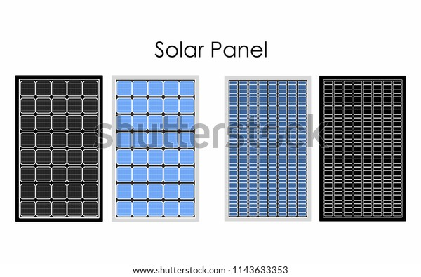 Types of solar panel Without outline and black fill